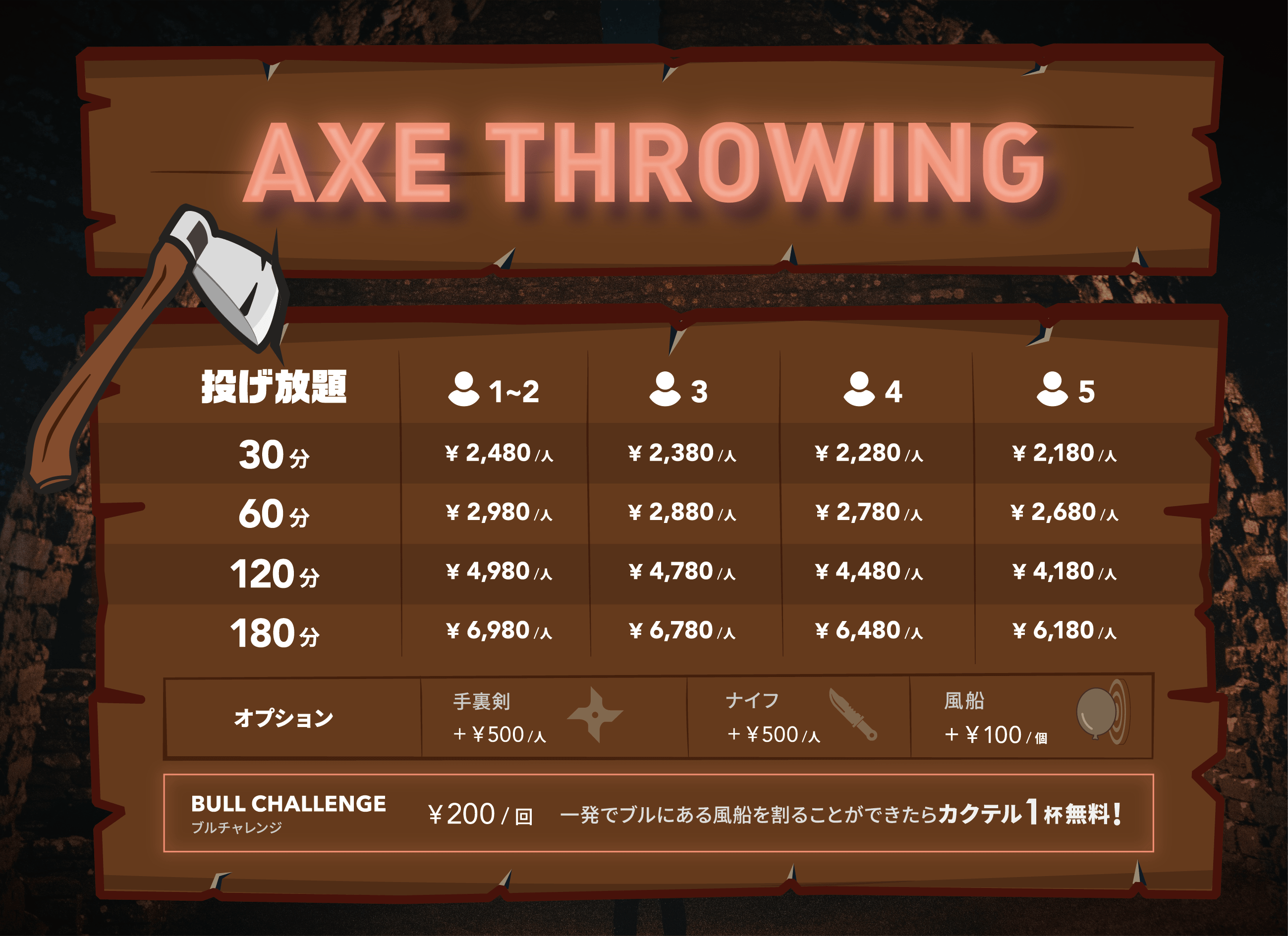 AXE THROWING(アックススローイング)の料金表